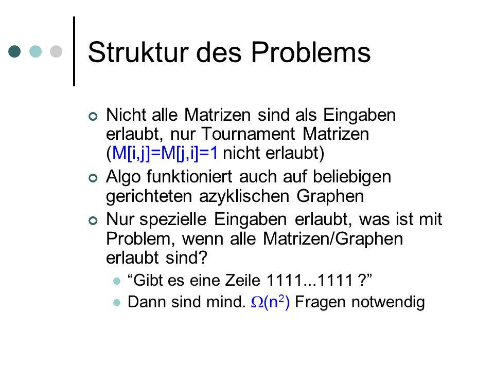 Struktur des Problems Nicht alle Matrizen sind als Eingaben erlaubt, nur Tournament Matrizen (M[i,j]=M[j,i]=1 nicht erlaubt)